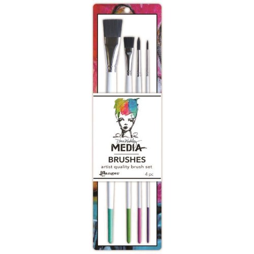 Ranger Dina Wakley Media Stiff Bristle Paint Brush, 0.5-Inch Flat, 4 Per Package (Dina Wakley Paint compare prices)