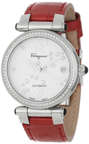 Ferragamo Women's F76SBA9191I SB02 Idillio Automatic White Dial Red Patent Leather Diamond Watch