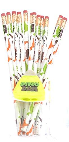 Set of 12 Dino Dan Dinosaur Pencils with Dino Tooth Pencil Sharpener - 1