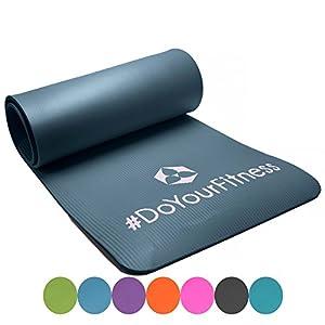 Matelas de fitness »Yogini« / épais et souple, idéal pour le pilates, la gymnastique et le yoga, dimensions : 183 x 61 x 1 cm / gris