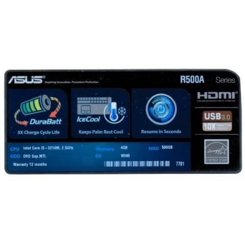 .com: ASUS R500A Series Logo Stickers Badge for Laptop Case -18000096