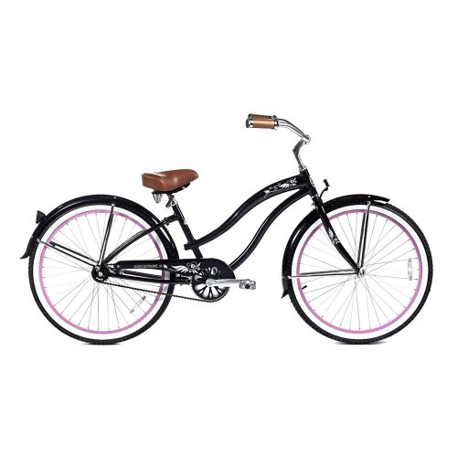 Micargi Women's Rover LX Beach Cruiser Bike, Black, 26-Inch