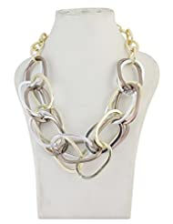 Exlusive Fashion Design Two Tone Fancy Oval Link Chain Necklace For Women/Girls