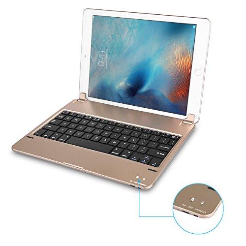 Earto iPad Pro 9.7 bluetoothキーボード ワイヤレスキーボード スタンド機能 薄型 リチウムバッテリー内蔵 (ゴールド)