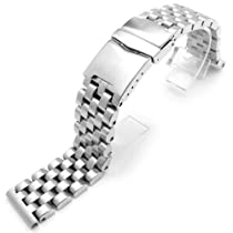 24mm SUPER Engineer Solid Stainless Steel Straight End Watch Band-Brush