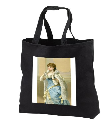 tb_181082 Florene - Victorian Images - Image of pretty lady dressed up in white fur and blue dress - Tote Bags