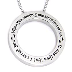 Footprints in the Sand Disc Necklace Pendant Charm with 18 Chain / Top Quality Stainless Steel Necklace Footprints Prayer - Inspirational Jewelry for Men or Women with Footprints Prayer / Gifts for Him Gifts for Her