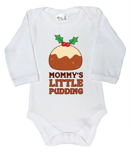 Dirty Fingers, Christmas, Mommy'S Little Pudding, Baby Long Sleeve Bodysuit, 6-12M, White
