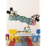 WALLMANTRA Baby Mickey Mouse Cartoon Wall Decal Wall Sticker (Size: 18x8 Inches )