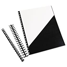 Swingline GBC ZipBind Prepunched Pocket Folder, 8-1/2 x 11, Black, 10 Folders/Pack