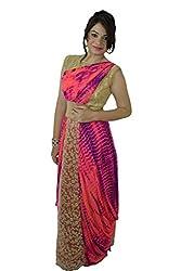 Yuveeka Creations Chiffon Pink Boat Neck Leheria Gown Saree Style