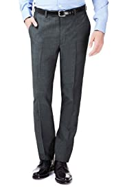 Savile Row Inspired Wool Rich Flat Front Trousers with Mohair [T15-3898-S]