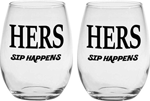 Tirsty Hers and Hers Glass Set Sip Happens 15 oz Stemless Wine Glasses Gift Set for Wedding Couples Newlyweds Gay and Lesbian(Set of 2)