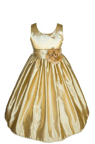 Amj Dresses Inc Girls Gold Flower Girl Pageant Dress Size 4 front-332463