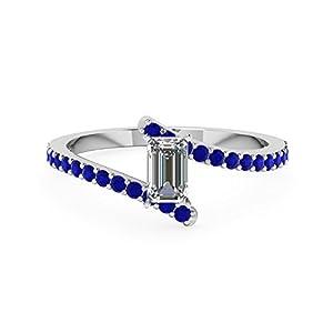 3/4 Ct Blue Sapphire & Emerald Cut Diamond Engagement Rings For Women 14K Gold GIA (E Color,VVS2 Clarity)