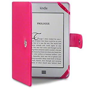 Amazon Kindle Touch PU Leather Folio Case / Cover / Pouch / Holster - Hot Pink PART OF THE QUBITS ACCESSORIES RANGE