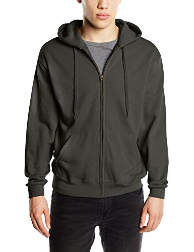 Fruit of the Loom Zip Hooded Sweatshirt-cappuccio Uomo    Grey (Charcoal) Large