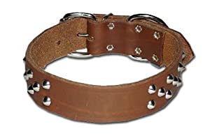 "1-1/2"" Rg Cone-studded Bully Collar, Color: Brown, Size: 21"""