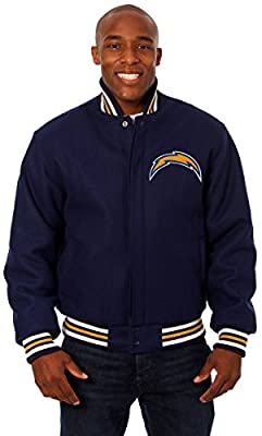 San Diego Chargers Men's Wool Jacket with Hand Crafted Leather Team Logos