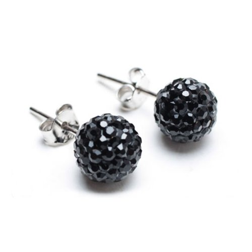 Bling Jewelry Black Crystal Ball Stud Earrings Inspired by Shamballa Jewels Sterling Silver