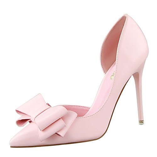 Ryse Women's Fashionable Delicate Bowknot Leather Elegant High Heels Pointy Shoes(34 M EU/4.5 B(M) US, Pink) (Boiler Colloid compare prices)