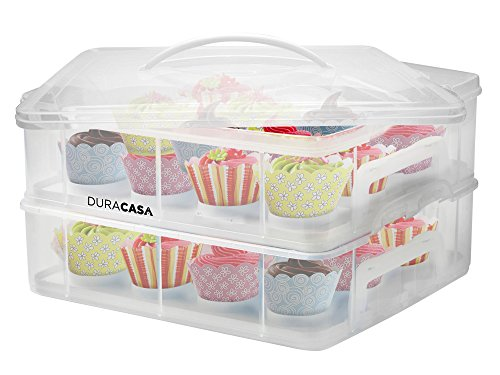 DuraCasa Cupcake Carrier | Cupcake Holder | Store up to 24 Cupcakes or 2 Large Cakes | Stacking Cupcake Storage Container | Cupcake, Cookie, or Cake Dessert Carrier (White) (Pie Transporter compare prices)