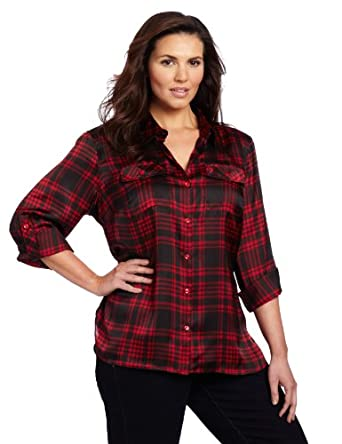 Jones New York Women's Plus-Size Safari Style Shirt, Wild Cherry/Black, 1X