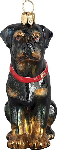 Rottweiler Dog Sitting Polish Blown Glass Christmas Ornament