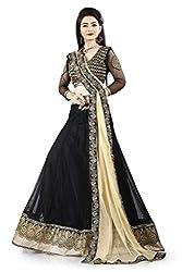 Lehenga Choli Royal Black Colour Fully Stitched Free Size Women's Net Lehenga by Pushpila