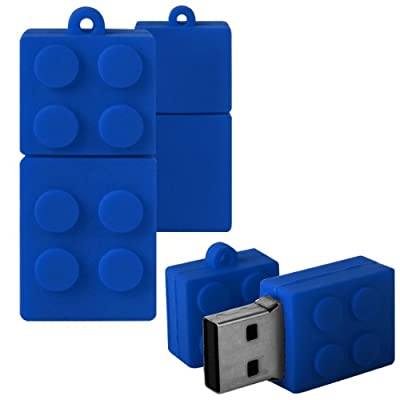 Shop4 8GB Blue Toy Brick Style Shape Novelty USB Data Memory Stick Storage Device with Key Chain from Shop4accessories