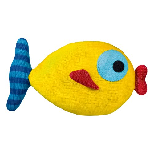 Grasslands Road Yellow Knit Kissing Fish Pillow, 8 By 14-Inch front-362613