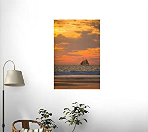 Lugger Type Pearling Sailboat near Broome in Western Australia Wall Decal - 30 Inches H x 20 Inches W - Peel and Stick Removable Graphic