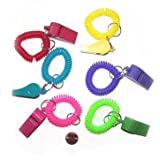 12 COIL WRIST Whistle BRACELET KEYCHAINS