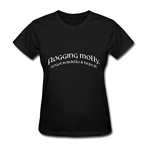 Black T Shirt For Donna Flogging Molly Gogol Bordello & Hepcat Logo