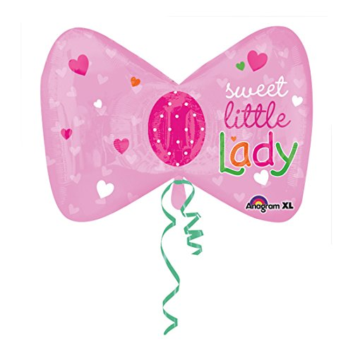 "Sweet Little Lady Pink Bow Tie 27"" Mylar Balloon"
