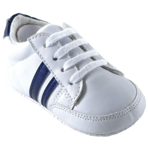 Luvable Friends Basic Stripe Sneaker, Blue, 6-12 months