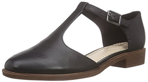 Clarks Taylor Palm - Sandali con Zeppa Donna, Nero (Black Leather), 39.5 EU