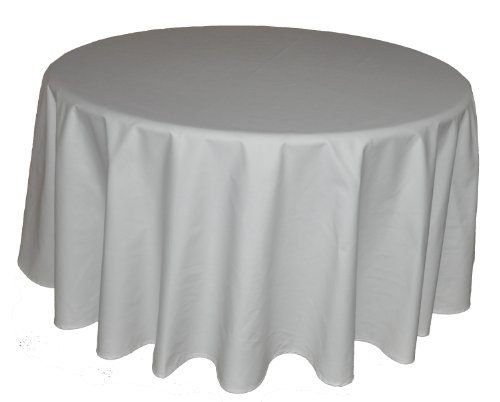 90 in White Round Tablecloth Heavy Woven Polyester - Commercial Grade