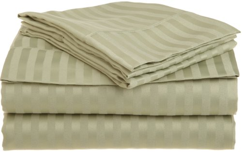 Impressions 1500 Series Wrinkle Resistant Twin Xl 3-Piece Sheet Set Stripe, Sage front-819483