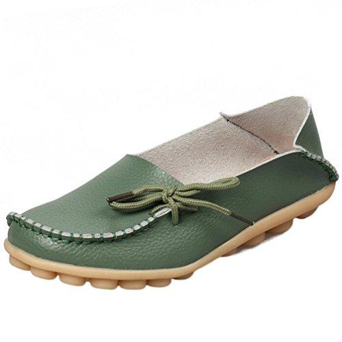 Transer® Scarpe Barca Mocassini Donna Pelle Pieno Fiore Calzature Scarpe Sportive da Ginnastica Stringata Sneakers (40, Verde)