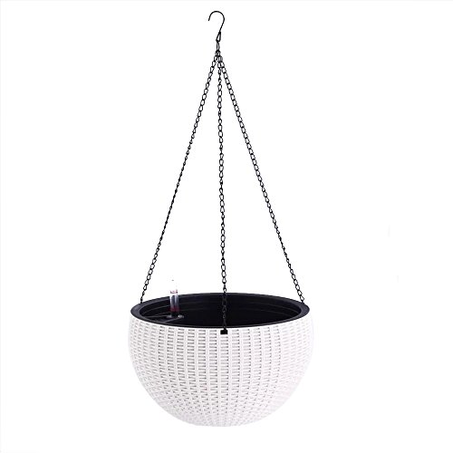 Watering Honey Elegant Self Watering Hanging Flower Plant Pot Chain Basket Planter Holder with Water level gauge-White (Self Watering Hanging Planter compare prices)