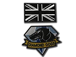 DIAMOND DOGS METAL GEAR SOLID COSPLAY AND SUBDUED UNION JACK BADGE PATCH SET (2 VELCRO BACKED BADGES) - by ONEKOOL