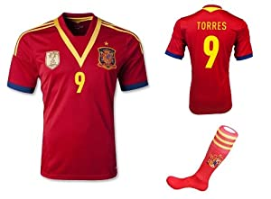 SPAIN HOME TORRES 9 FOOTBALL SOCCER KIDS JERSEY WITH FREE SHORTS & SOCKS (10-12...