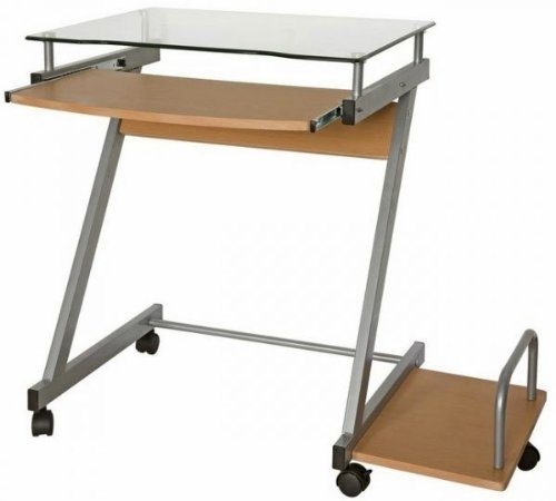 Buy Low Price Comfortable Compact Glass Top Computer Cart (Beech) (29″H x 33.3″W x 19.7″D) (B003S9Z5F0)