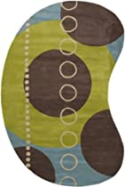 Hot Sale Surya FM7013 Forum Contemporary Hand Tufted 100% Wool Multi-Colored Rug (6-Feet x 9-Feet Kidney)