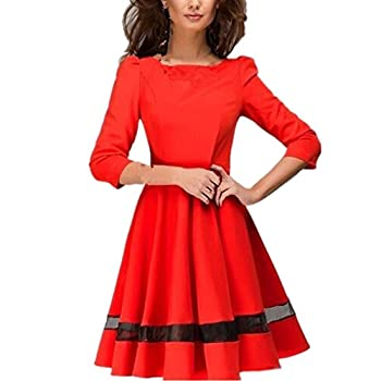 Women Dress,Haoricu Fall Fashion Women Ladies Elegant Solid Long Sleeve Pleated Party Dress