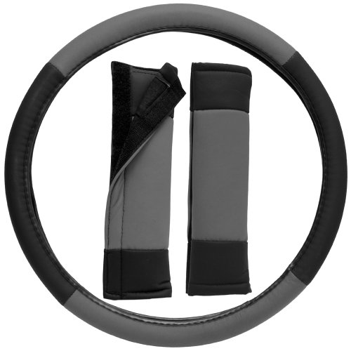 Oxgord Stylish Leatherette Steering Wheel Cover And Seat Belt Pad Set For The Hyundai Tiburon Coupe In Gray & Black Leatherette