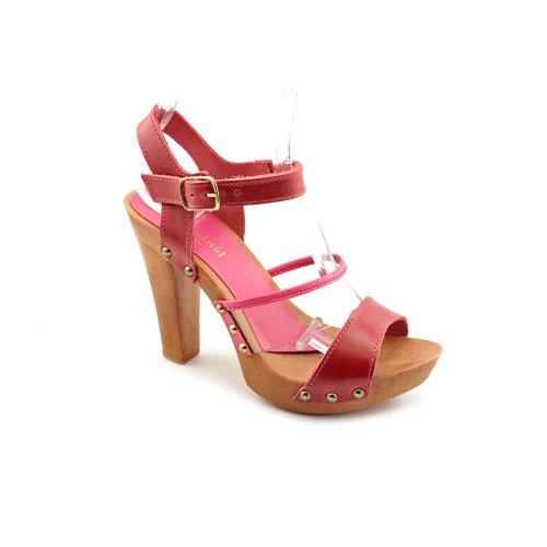 Charles David Esta Womens Size 8 Pink Open Toe Leather Platforms Sandals Shoes