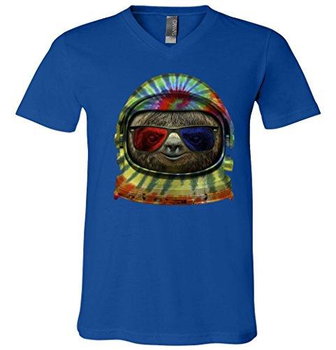 V-Neck T-Shirt: Sloth Astronaut 3D Glasses MVTTP2235617