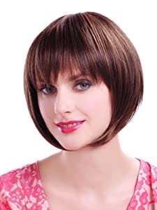 Party Short Straight Wig Brown Bob Hair Wig